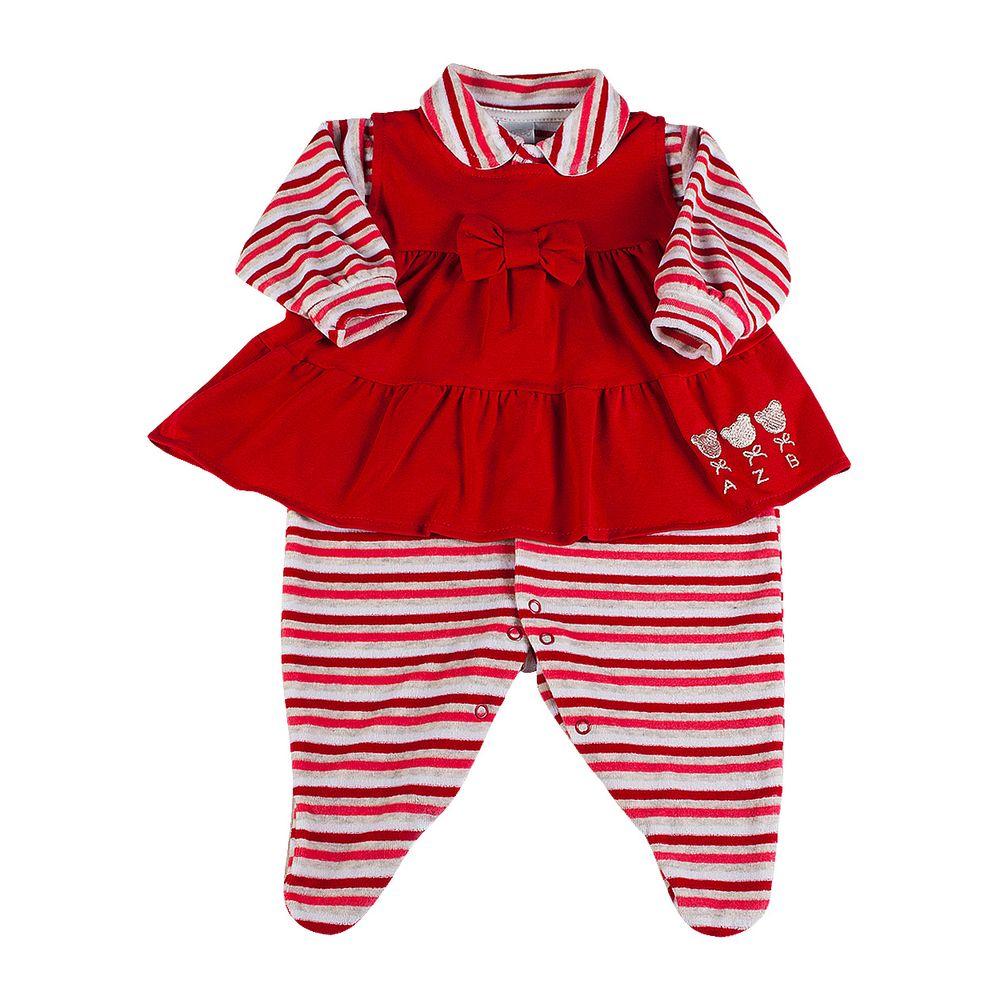 Macacão Vestido Bebê Plush 3 Ursos - Vermelho 6d287e00b047c