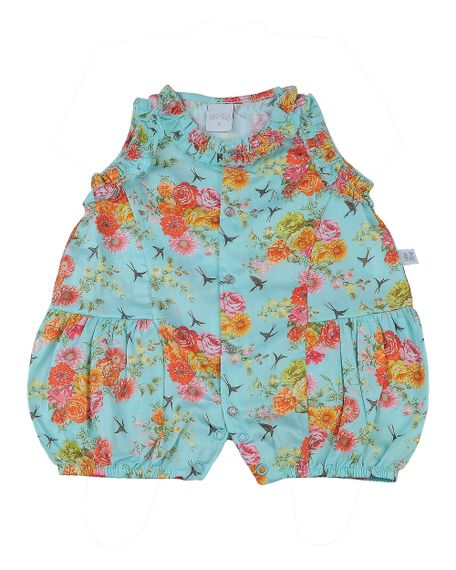 85b2363963 Macacão Bebê Cetim de Algodão Estampa Digital Floral - anozero