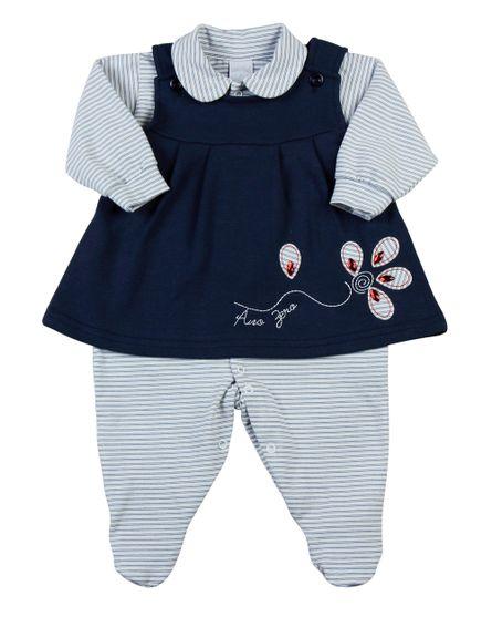 Macacao-Vestido-Bebe-Suedine-Cotton-Listrado-Flor-Marinho-11806