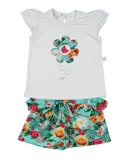 Roupa-Infantil-Conjunto-Cotton-e-Malha-Estampa-Digital-Tropical-Flor-com-Joaninha-Verde-23304