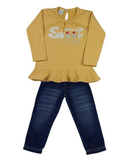 c9c66d356d Conjunto Infantil Malha matelassê Vintage e Moletom Índigo Sweet Cupcake -  Amarelo
