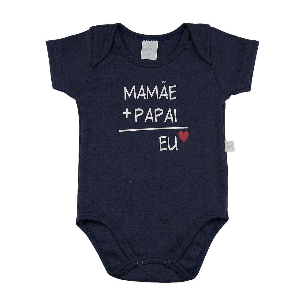 6bdd2bb04 Body Bebê Suedine Algodão Frases - Mamãe + Papai = Eu - Marinho