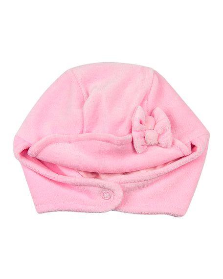 Touca Bebê Plush com Protetor de Orelhinha e Lacinho - Rosa XGG