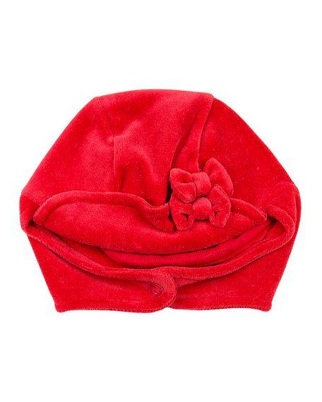 Touca Bebê Plush com Protetor de Orelhinha e Lacinho - Vermelho GG