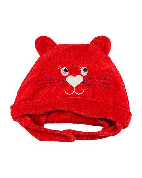 Touca de Bebê Plush Gatinha - Vermelho M
