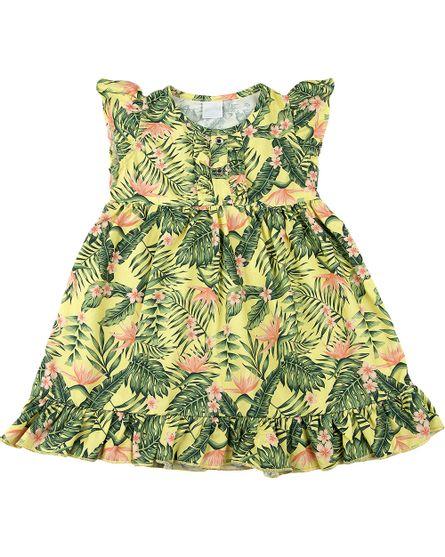 Vestido-Infantil-Tricoline-Estampa-Digital-Folhagem-Amarelo-23702