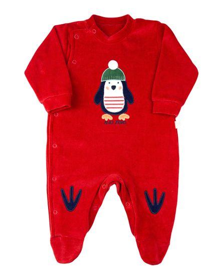 Macacao-Bebe-Plush-Pinguim-com-Patinhas-Vermelho-11708