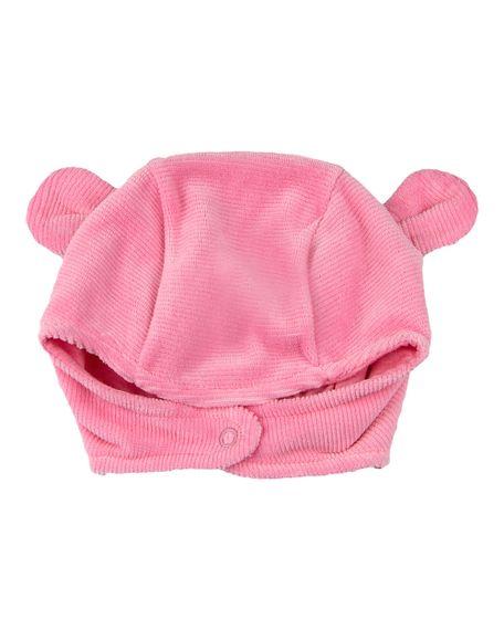 Touca de Bebê Plush Ondulê Orelhinhas - Rosa Escuro P