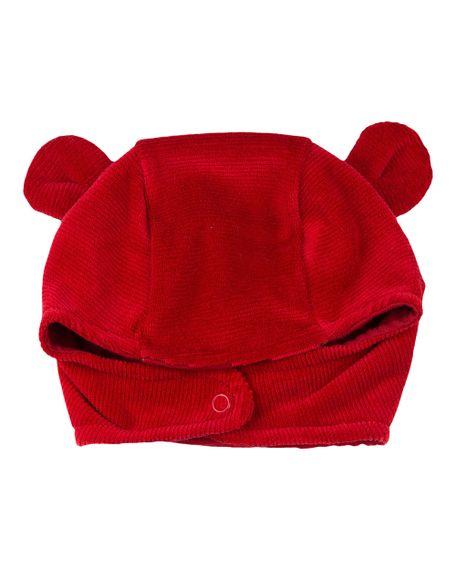 Touca de Bebê Plush Ondulê Orelhinhas - Vermelho P