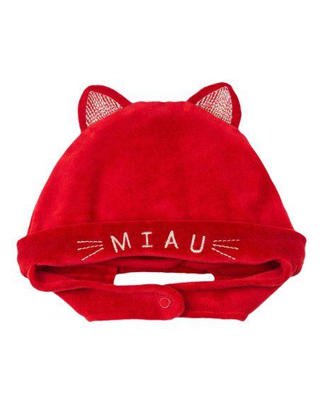 Touca de Bebê Plush Bordado Miau - Vermelho GG