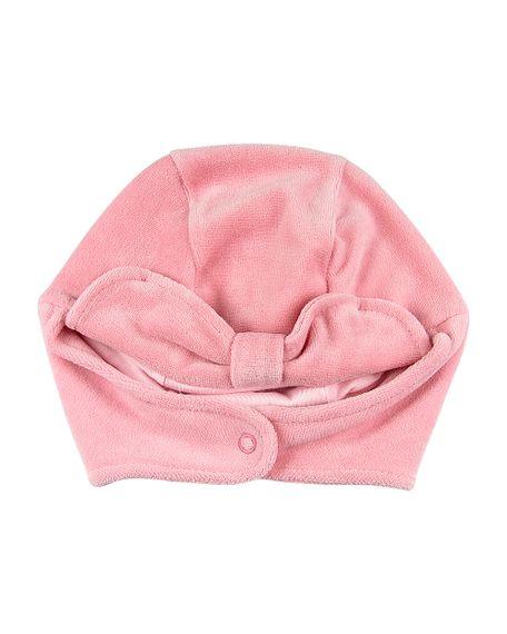 Touca de Bebê Menina com Protetor de Orelhinha - Salmão M