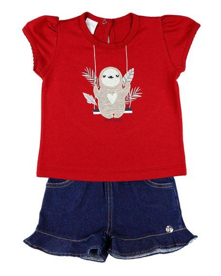 Conjunto-Infantil-Menina-Cotton-e-Indigo-Stone-Washed-Bicho-Preguica-Vermelho-23310