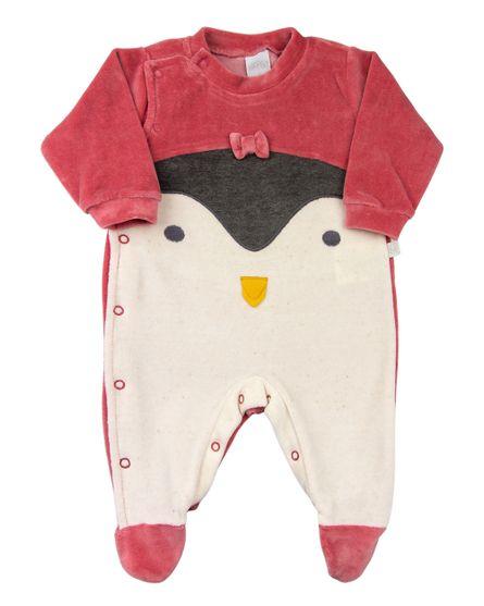 Macacao-Bebe-Plush-Pinguim-com-Lacinho-Marrom-11275