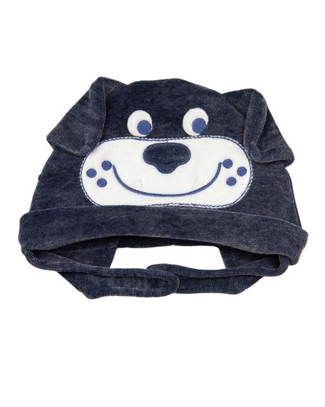 Touca Bebê Plush Jeans Laserwash Cachorrinho - Marinho GG